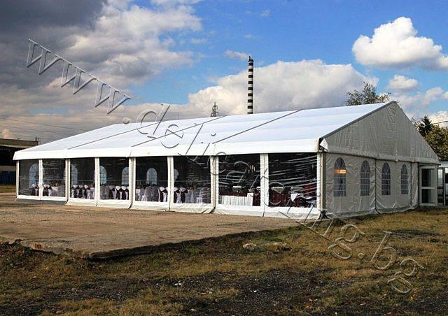 Шатра Alu Hall 15 двускатен покрив 75кв.м – 600кв.м