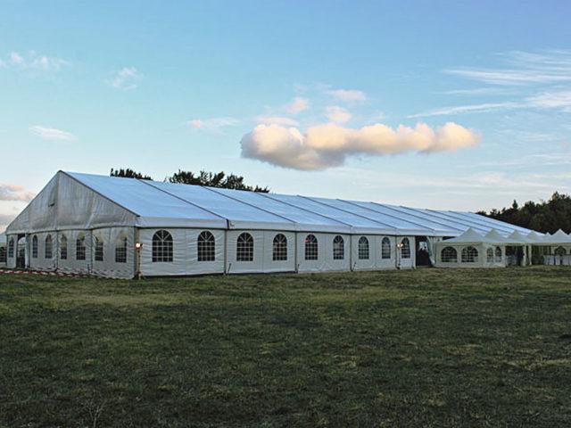 Шатра Alu Hall 20 двускатен покрив 200кв.м – 1000кв.м